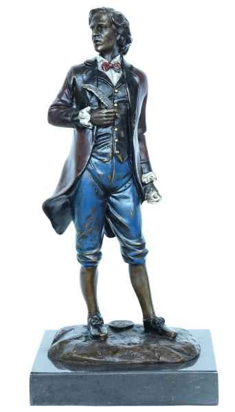 Bronzeskulptur Chopin Komponist im Antik-Stil Bronze Figur Statue 21cm