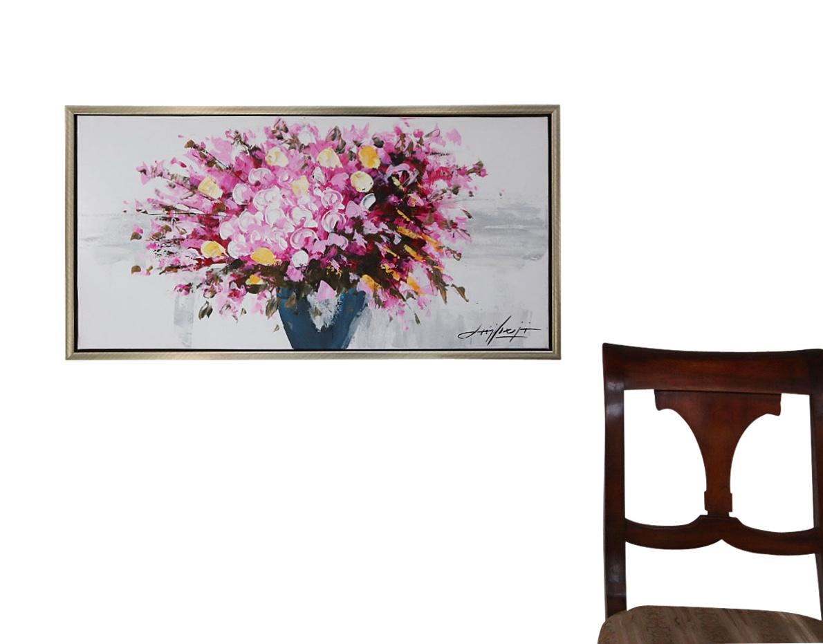 original lgem lde stilleben blumen vase gem lde mit holz rahmen 84cm moderne aubaho. Black Bedroom Furniture Sets. Home Design Ideas