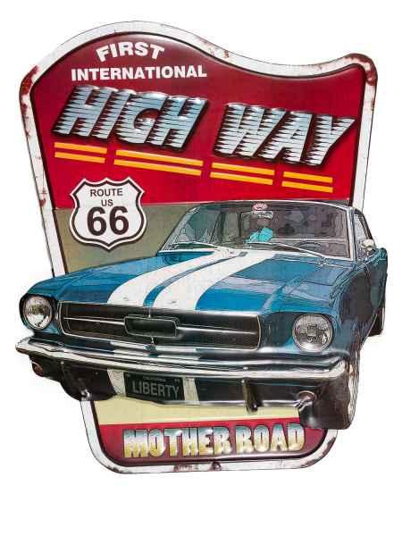 Blechschild Wandschild Highway Route 66 Auto Nostalgie Antik-Stil 74cm
