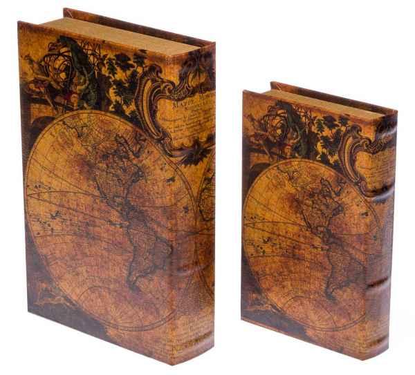 2x Schatulle Globus Büchersafe Buchattrappe Aufbewahrung Schmucketui book box