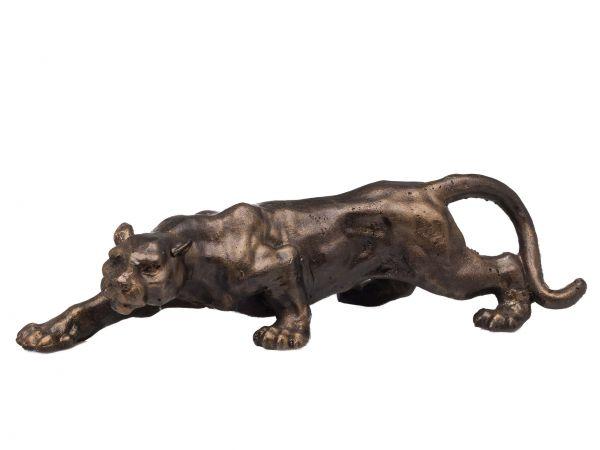 Figur Panther Leopard Puma Skulptur Jaguar Eisen in Bronze Optik sculpture
