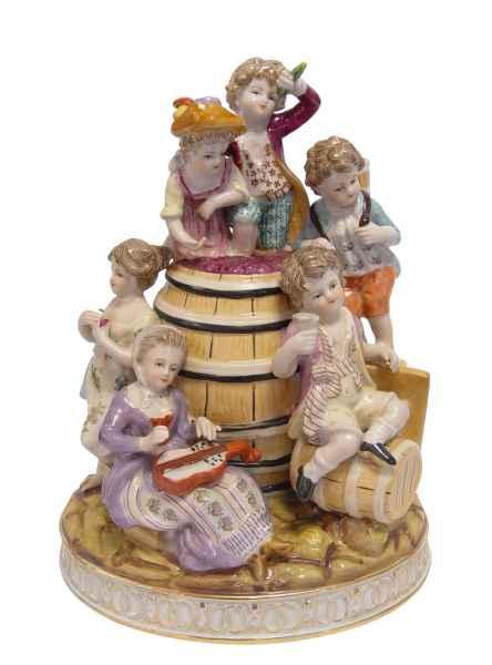 Skulptur Figur Kunst Kind Wein Antik-Stil 28cm