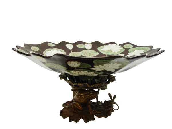 Schale Prunkschale Anbietschale Blume Skulptur Porzellan Messing Antik-Stil 43cm