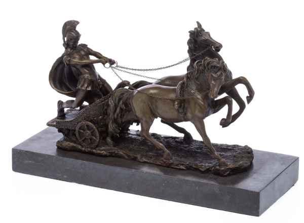 Bronzeskulptur Römer im Streitwagen Reiter Bronze Figur Skulptur 31cm sculpture
