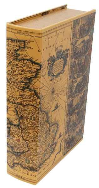 Buchattrappe Weltkarte Box 24cm Schmucketui Buchsafe Zahlmappe Rechnungskassette