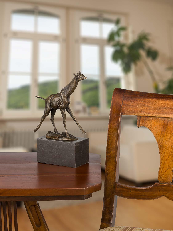Bronze Bronzeskulptur Bronzeskulptur Bronze Giraffe Figur Statue im Antik-Stil 26cm