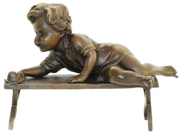 Bronzeskulptur Kind Schnecke Antik Bronze Figur Statue - 17,7 x 12,6 x 8,5cm
