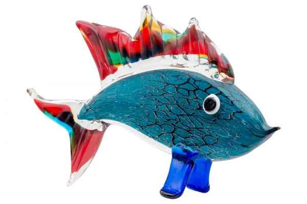 Glasfigur Figur Skulptur Glas Glasskulptur Fisch Murano-Stil Antik-Stil 33cm