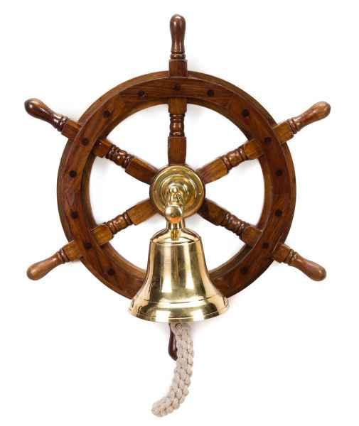 STEUERRAD GLOCKE SCHIFFSTEUERRAD HOLZ SCHIFFSGLOCKE STEERING WHEEL SHIP BELL