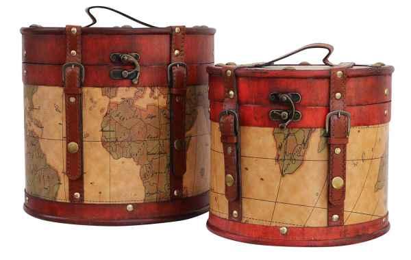 Paar Hutkoffer Hutschachtel Hutbox Holz Antik-Stil Hut Box Schachtel Koffer Deko