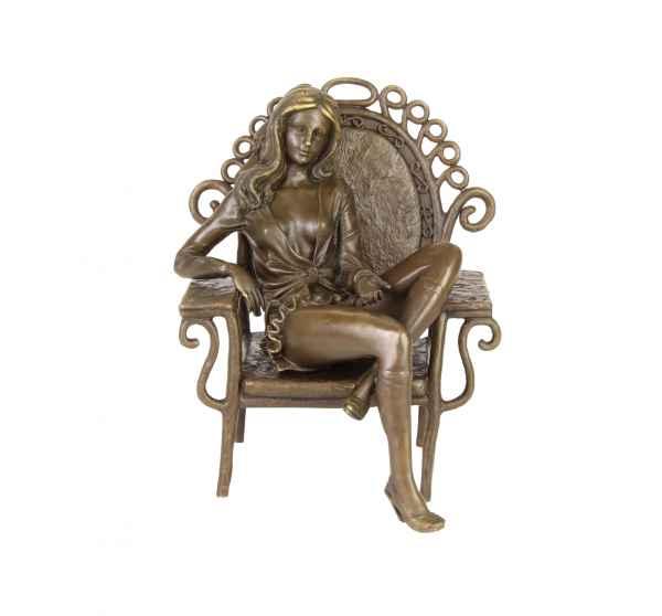 Bronzeskulptur junge Frau erotische Kunst im Antik-Stil Bronze Figur Statue 21cm