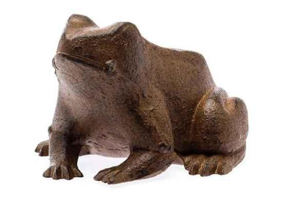 Figur Frosch braun 14cm Skulptur 1kg Gusseisen Gartenfigur Antik-Stil