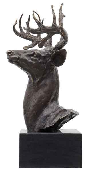 Bronzeskulptur Hirsch Kopf im Antik-Stil Bronze Figur Statue 50cm