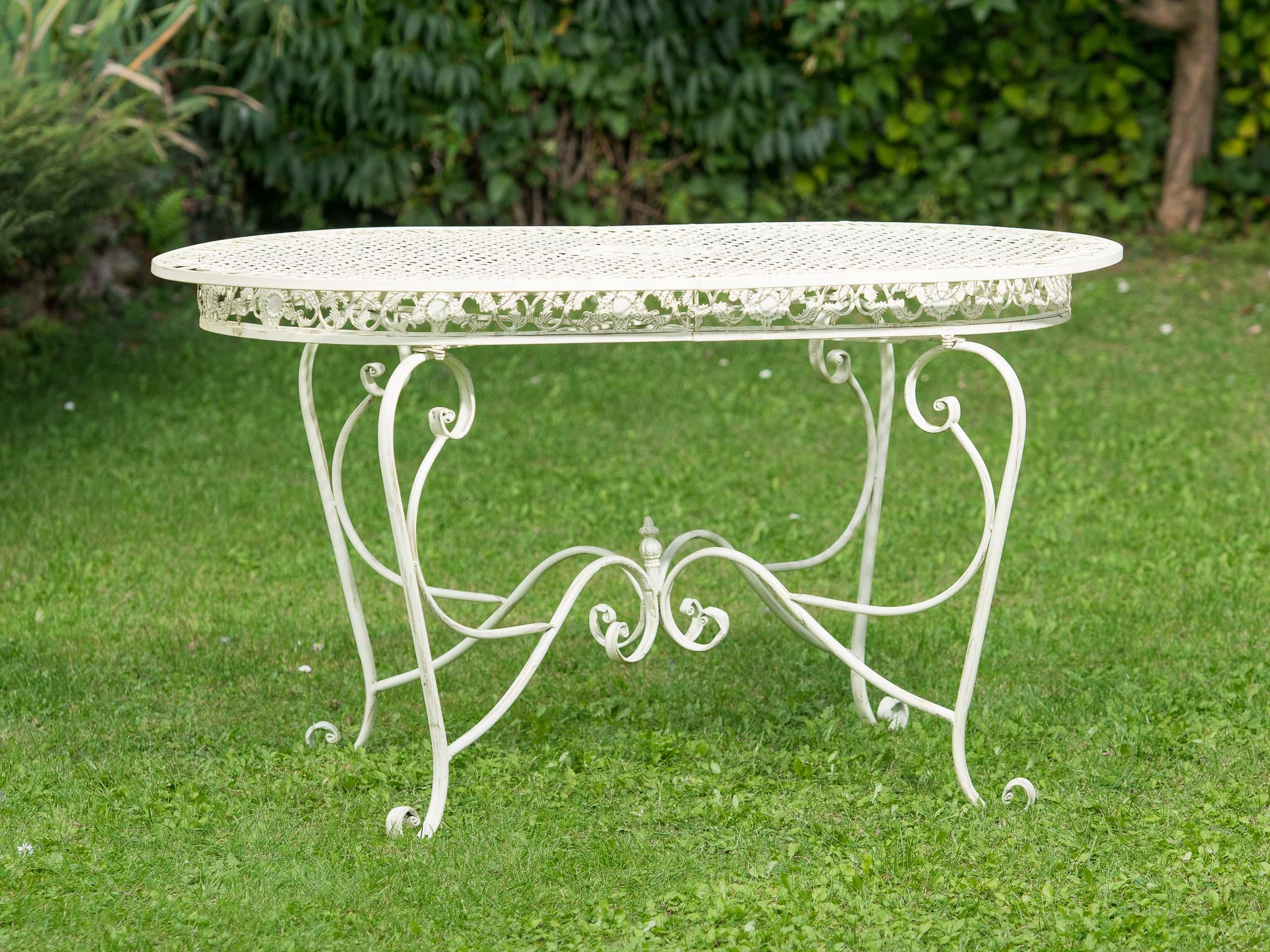Tavolo Giardino Ferro Bianco.Set Tavolo Da Giardino 4 Sedie In Ferro Bianco Crema Mobili Da