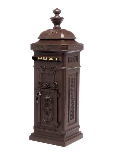 Standbriefkasten - Briefkasten - Aluminium  - im Antik-Stil  - braun - 115cm