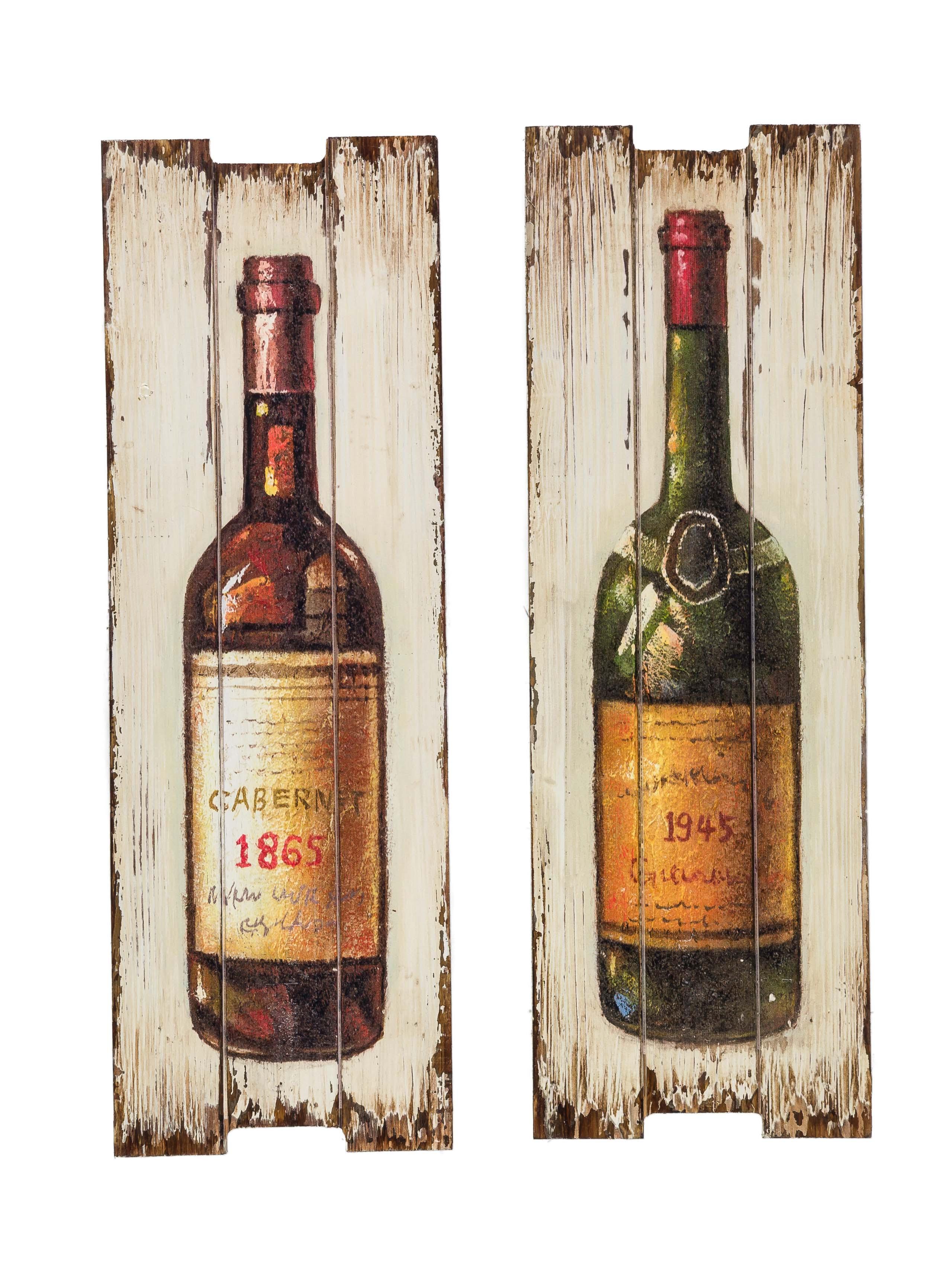 2x Bild Wandtafel Tafel Rotwein Wein Weinflasche Weisswein Wandbild