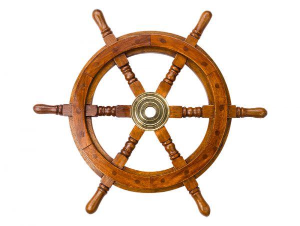 Steuerrad 47cm Holz Messing Schiff Schiffsrad Schiffssteuerrad Schiffe Boot