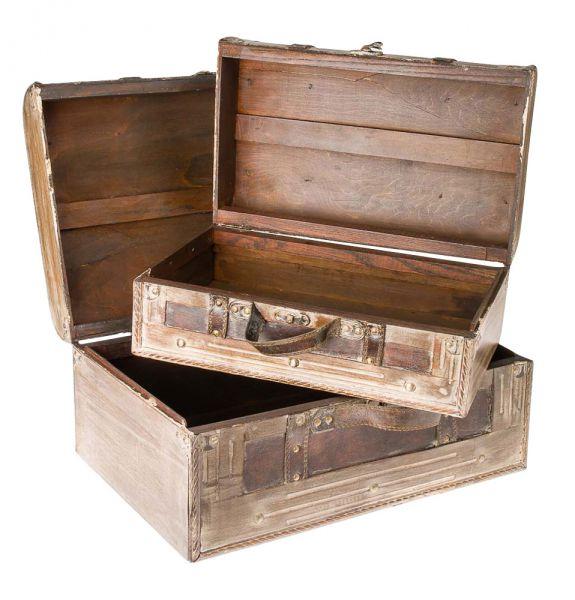Oldtimer Koffer 2x Holzkoffer Truhenset Truhe Box Holz im antik Stil suitcase