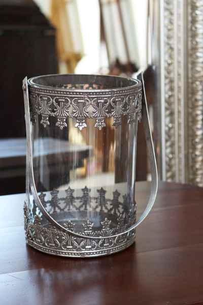 Windlicht Teelicht Laterne Gartenlaterne Terasse Metall Glas 34cm Antik-Stil