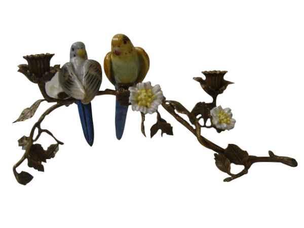 Kerzenständer Porzellan Messing Vogel Skulptur Antik-Stil 38cm