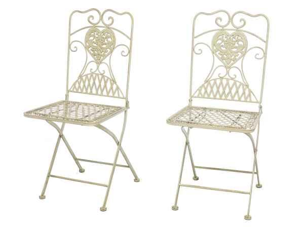 2x Gartenstuhl Stuhl Bistrostuhl Garten Eisen antik Stil creme weiß