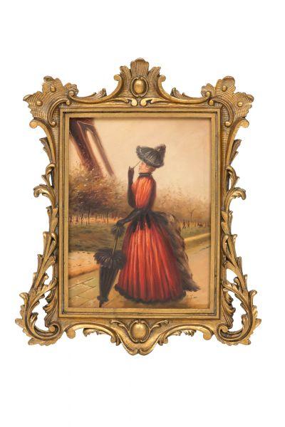 Original Ölgemälde Paris Dame mit Schirm Eiffelturm Gemälde Antik-Stil 60x50cm
