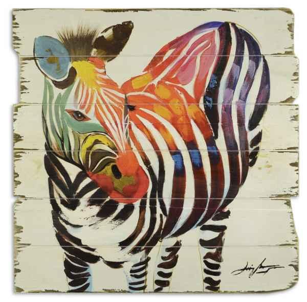 Bild Wandtafel Holzbild Wandbild Zebra Tier Streifenmuster Holz Antik-Stil 60cm