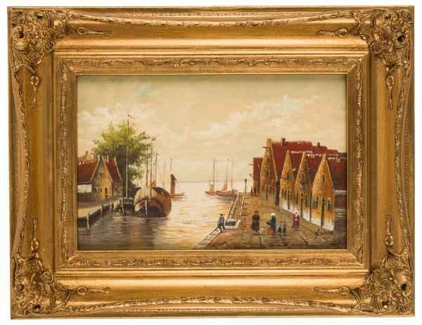 Ölgemälde Gemälde Schiff Bild Holland Niederlande Antik-Stil - 43cm