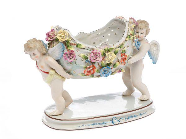 Schale Porzellan Anbietschale Porzellanschale Engel Prunkschale antik Stil
