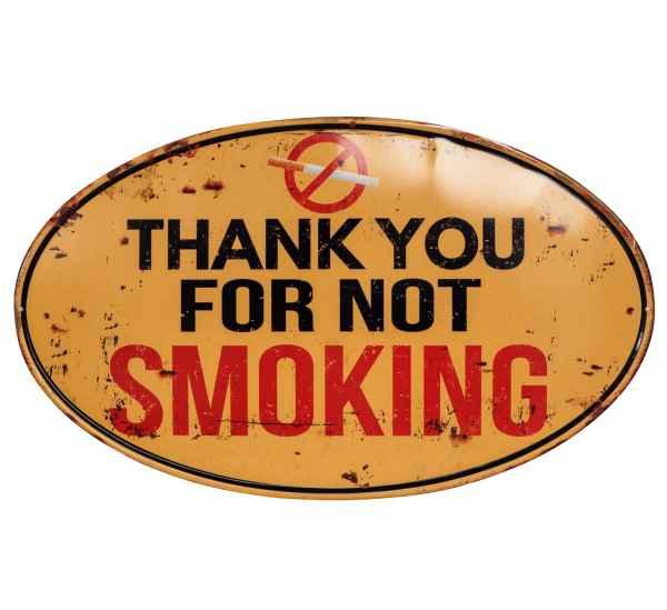 Blechschild Rauchverbot Rauchen not smoking Schild 56cm Wandschild Antik-Stil