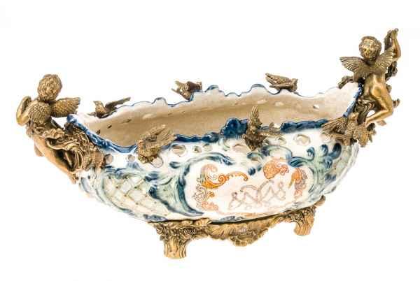 Schale Prunkschale Porzellan antik Stil Applikationen Bronze Engel 42 cm