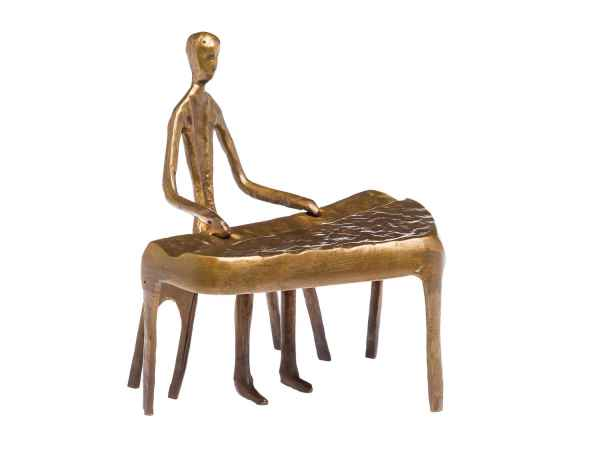 Skulptur Pianist Klavierspieler Piano Keyboard Bronze Figur Bronzeskulptur