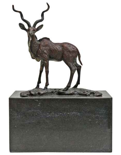 Bronzeskulptur Bronze Figur Impala Antilope Skulptur Antik-Stil - 19cm
