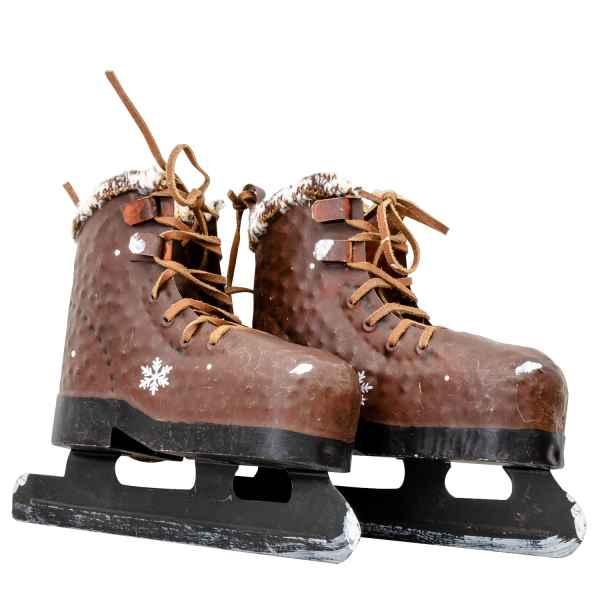 Schlittschuhe zum Aufhängen Metall Eis Winter Dekoration Antik-Stil 22cm