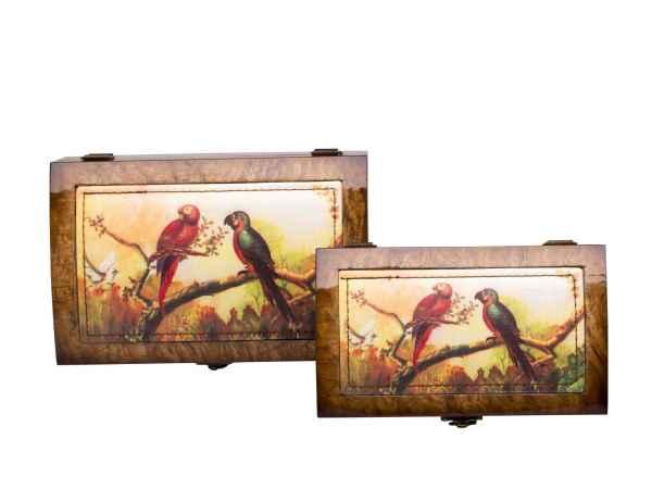 2x Schmuckschatulle Schmuckkasten antik Stil Dose Box jewelry box Papagei Ara