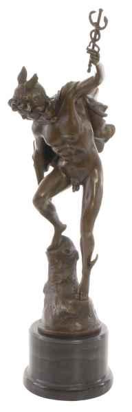Bronzeskulptur Merkur Mercurius Bronze Figur Statue Bronzefigur Antik-Stil 62cm