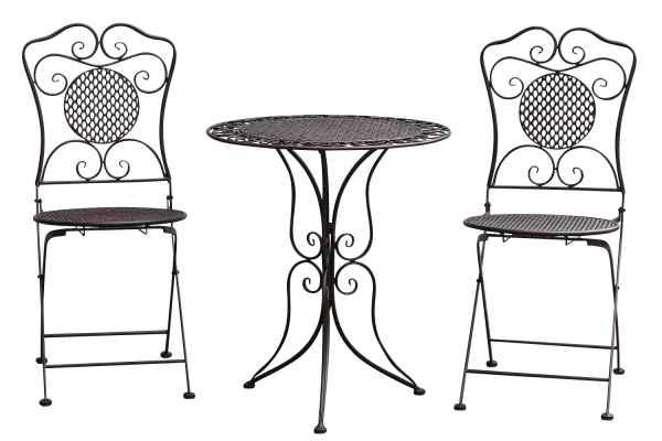 Gartenset Tisch +2x Stuhl Eisen Gartengarnitur braun Bistroset Metall Garten Set