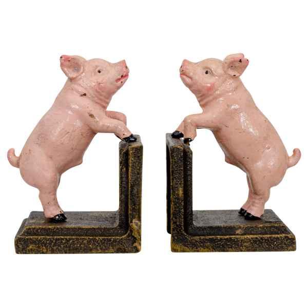 2 Buchstützen Buchständer Schwein Statue Figur Skulptur Eisen 13cm Antik-Stil