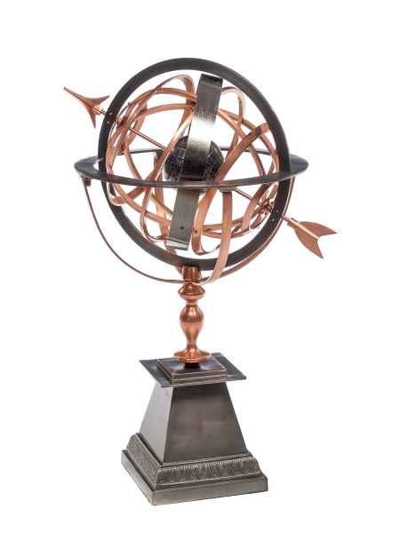 Sonnenuhr Eisen Kupfer Garten Dekoration Antik Stil Globus 93cm