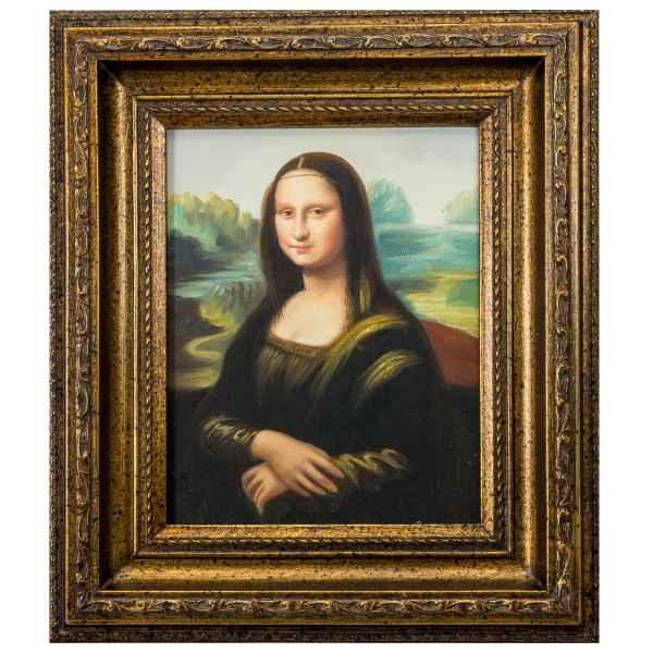 Original Gemälde Kopie Mona Lisa Ölgemälde mit Rahmen Ölbild Antik-Stil 38cm