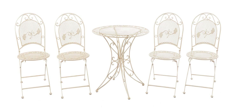 Salon de jardin - 1 table et 4 chaises - fer - style antique - crème/blanc
