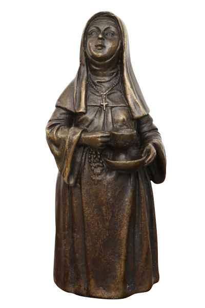 Skulptur Tischglocke Nonne Antik-Stil Bronzeskulptur Glocke Bronze Figur