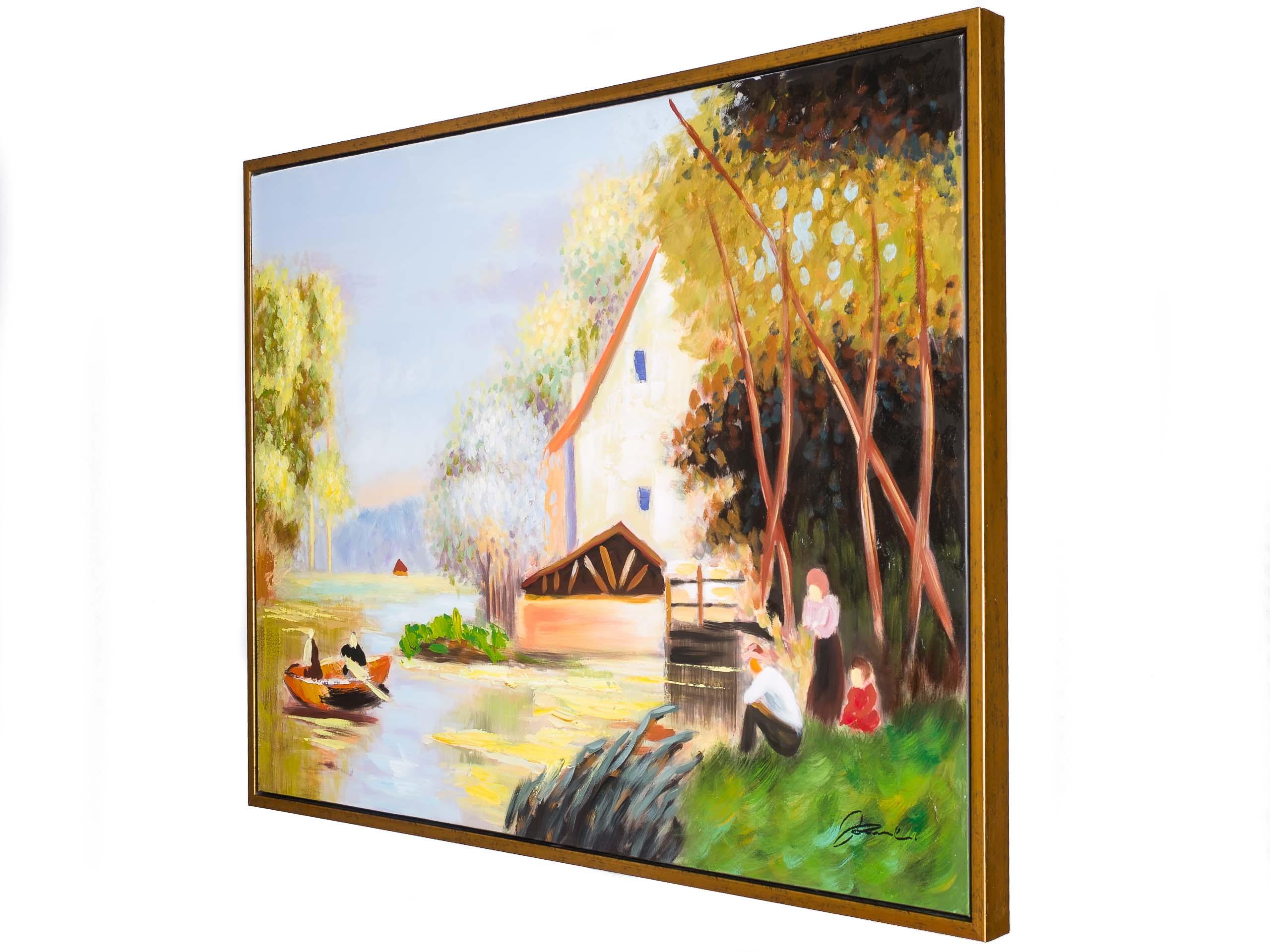 Original Gemälde Ölgemälde Bild Haus am See mit Rahmen modern 124cm