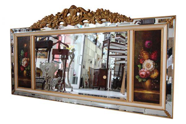 205cm Wandspiegel Spiegel antik Stil mit original Gemälde Ölgemälde
