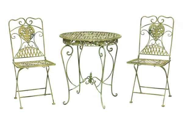Gartentisch und 2 Stühle Eisen antik Stil Gartenmöbel in hellem creme grün garden