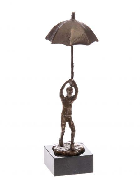Skulptur 25cm Regenschirm Mann mit Schirm Figur Moderne umbrella antik Stil