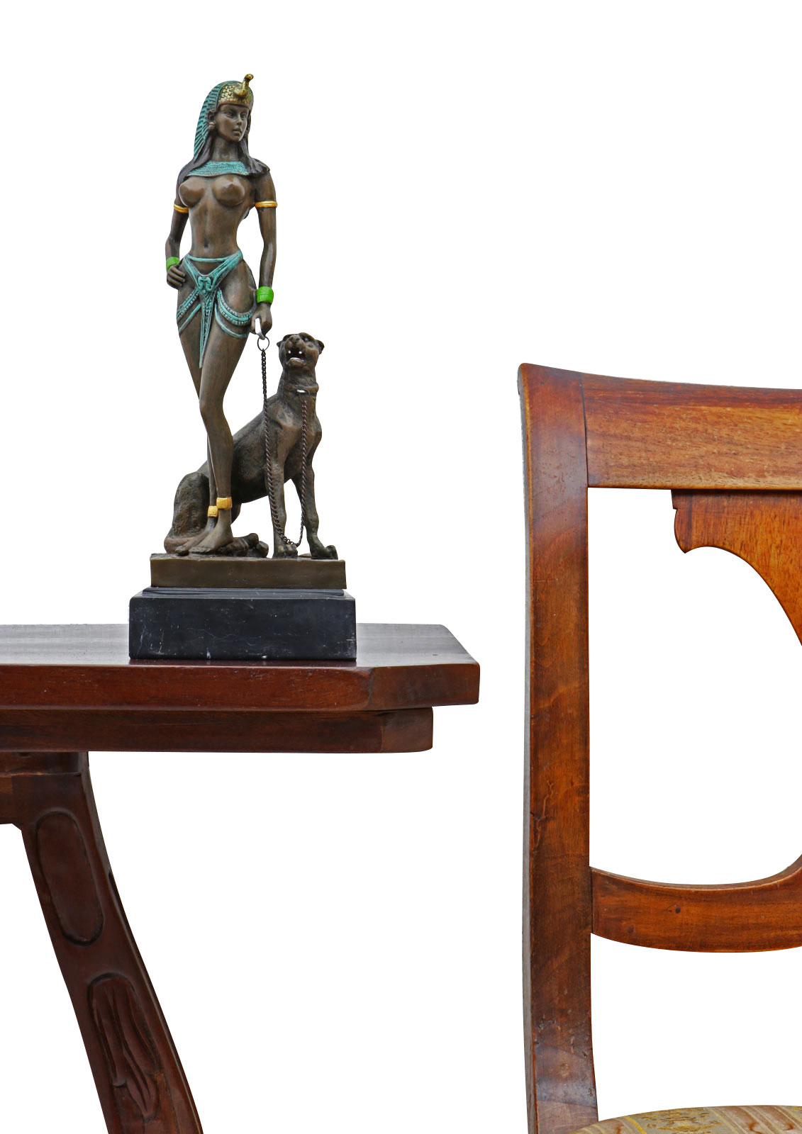 Cleopatra Ornate Traditional Cherry Formal Dining Room: A Bronze Sculpture Of Cleopatra With Panther 26cm