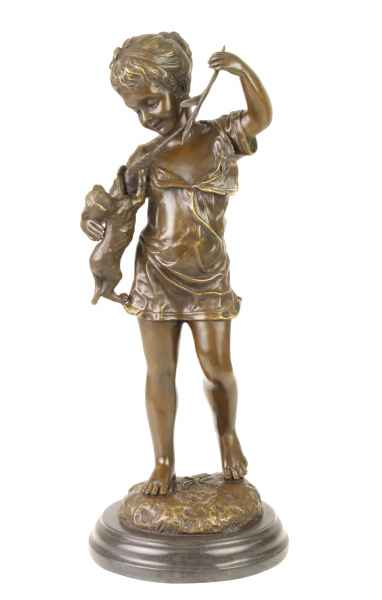 Bronzeskulptur Mädchen Katze im Antik-Stil Bronze Figur Statue 39cm