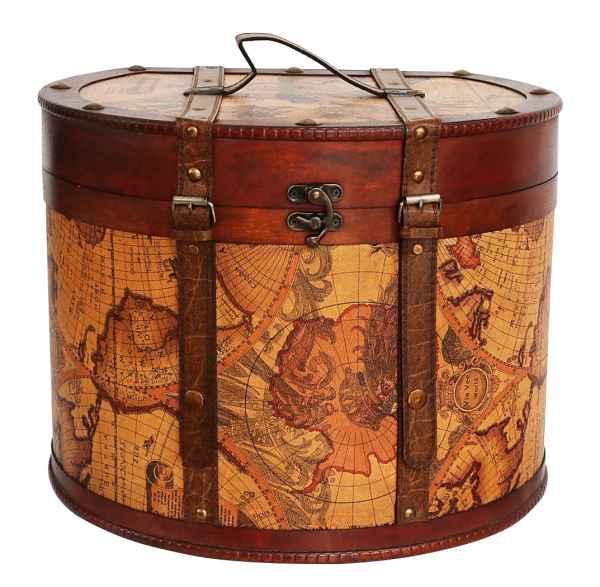 Hutkoffer 40cm Hutschachtel Hutbox Holz Antik-Stil Hut Box Schachtel Koffer Deko