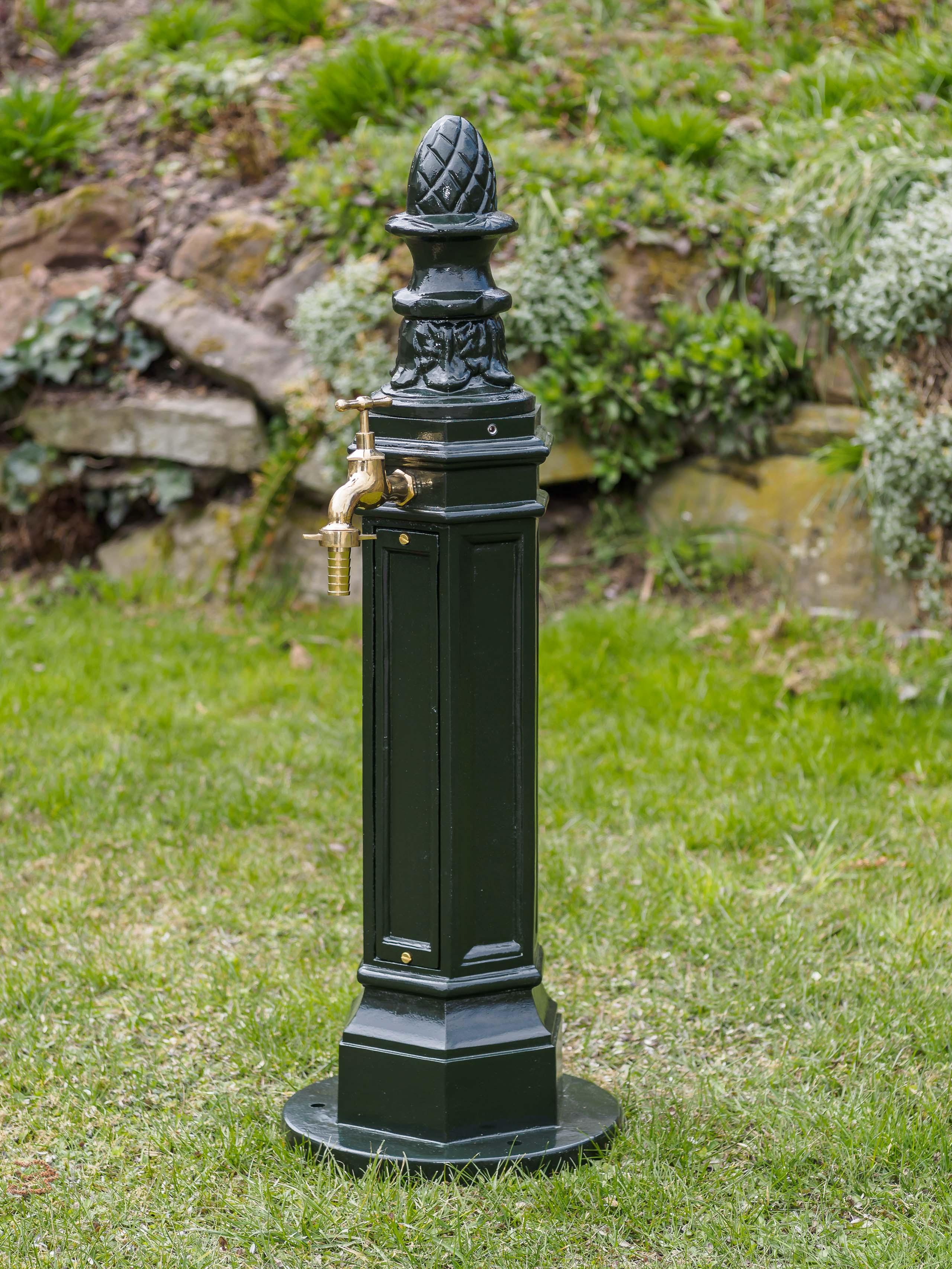 Standbrunnen 95cm Waschbecken Garten Alu Grün Antik Stil Brunnen
